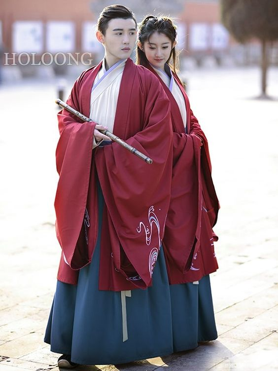 Lovers Ruqun Spring Embroidery Big sleeve unlined upper garment Men Hanfu Clothing - US $250.00