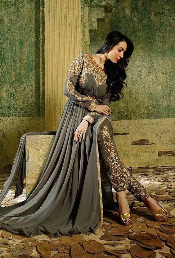 Malaika Grey Pant Style Anarkali