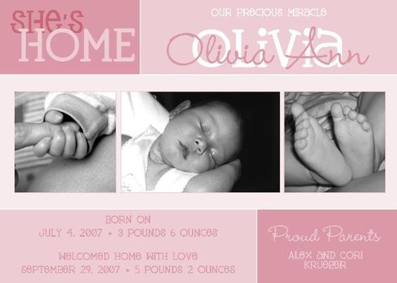 Preemie birthwelcome home announcement – Preemie Birth Announcements