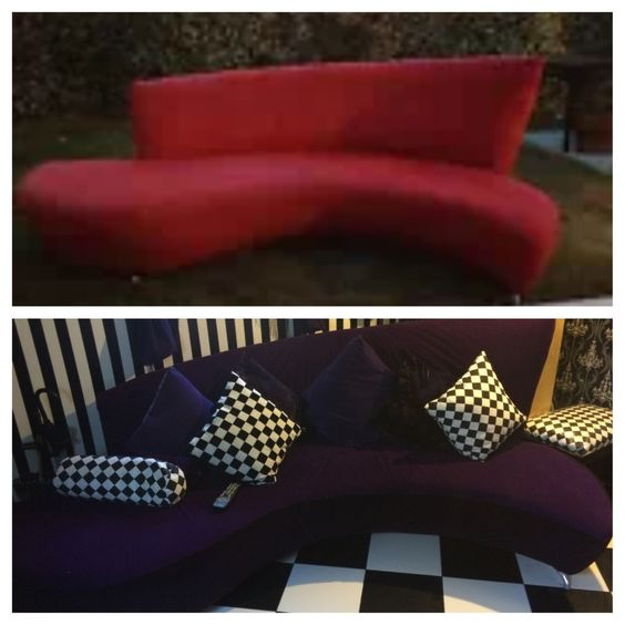 Alice in wonderland inspired couch. Bought this on EBay for $100. Reupholstered it myself and with a little help from my dad
