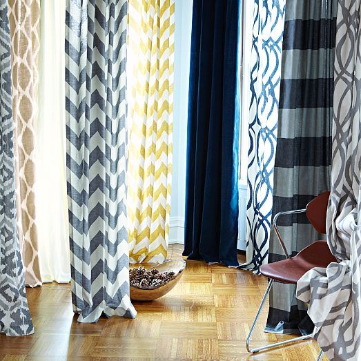 Cotton Canvas Bold Stripe Curtain Slate West Elm