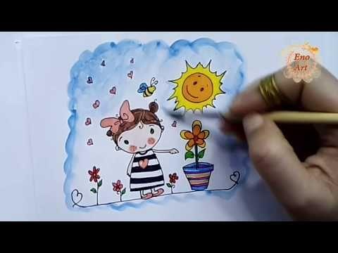 رسم بنت وورد وشمس سهل جدا للأطفال خطوة بخطوة عيد الربيع Youtube Girl Drawing Drawings Cards