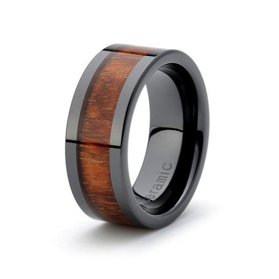 black ceramic ring rose wood inlay 9mm mens wedding by