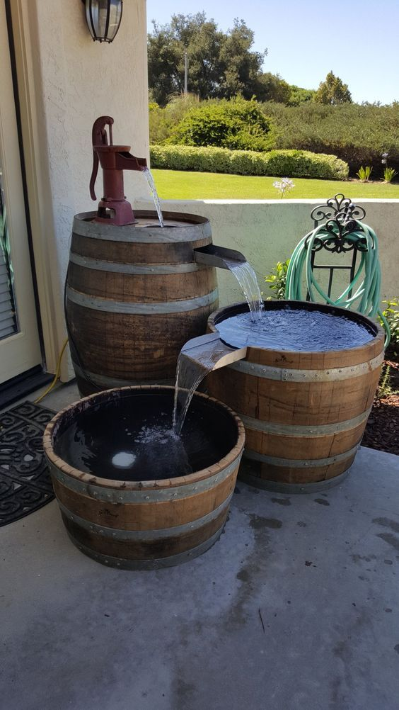 Wine Barrel Project Fountain Barrel Projects Wine Barrel Diy Wine Barrel Water Feature