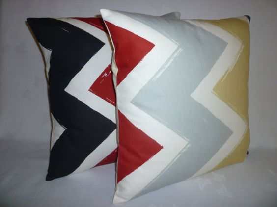 Chevron Red Pillow Cover Designer Cushion Cover by WickedWalls, $14.50