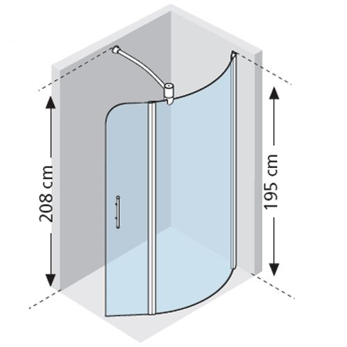 novellini go 6 curved shower screen pivoting section