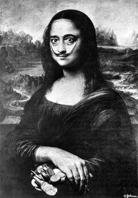 Image result for self portrait as mona lisa dali