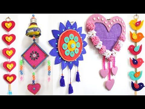 5 Easy Wall Hanging Decoration From Waste Materials Youtube