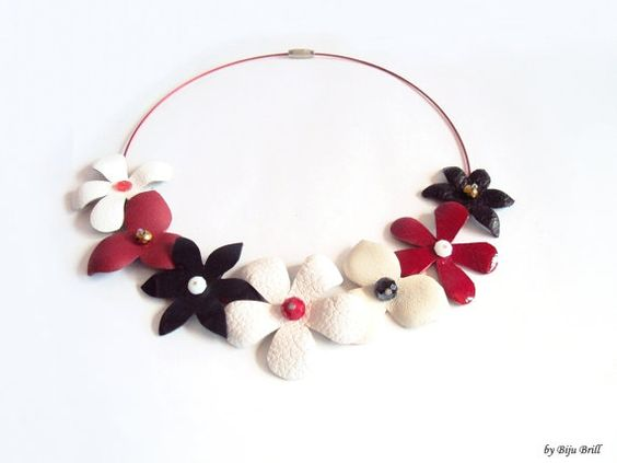 Leather Flowers Necklace Black White Red Floral by BijuBrill