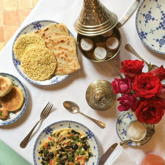 Stylish, traditional Moroccan inspired breakfast with polenta bread, pancakes and a 'Berber' omelette. #laSultanaMarrakech  www.andrewforbes.com #luxestyletravel #luxurytravelpursuits