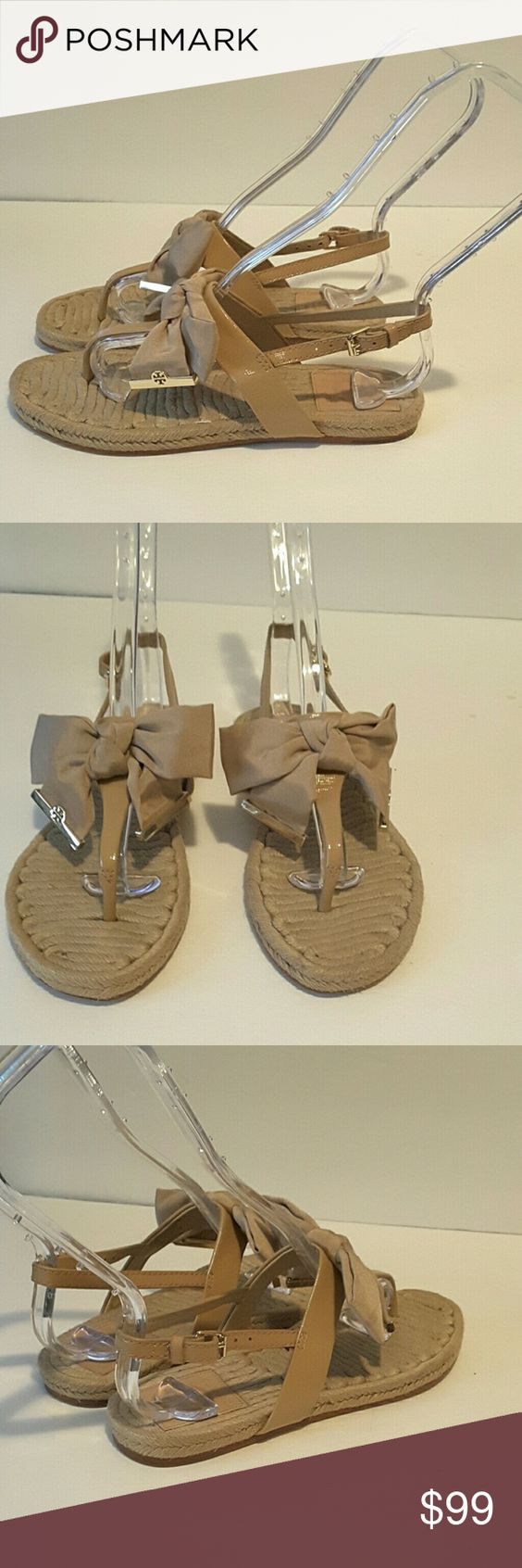 Tory Burch Penny sandals. Tory Burch Penny sandals in beige patent leather  with beautiful  nylon bow with TB logo. In excellent  lightly used condition. Tory Burch Shoes Sandals