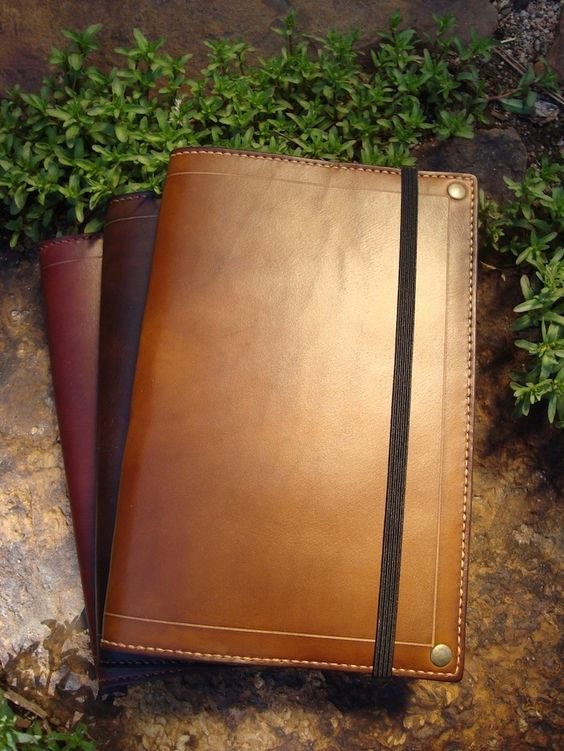 Custom leather Moleskin cover from the artisans of Ink Leaf Leather.