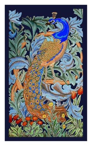 William Morris Peacock Arts and Crafts Style Counted Cross Stitch Chart | eBay
