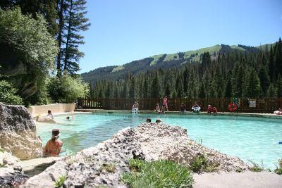 Granite Hot Springs in Jackson Hole, Wyo. In the winter, you can reach the pool only on a snowmobile or cross-country skis, but in the summer — when the water is an easy 93-98 degrees — it's a gorgeous 30-mile drive along the Gros Ventre Mountains through the Bridger-Teton National Forest.