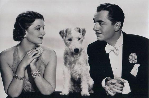 Stars of The Thin Man film series: Myrna Loy, Asta, William Powell