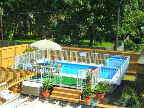 Small yard above ground pool designs kayak swimming for Swimming pools for small yards