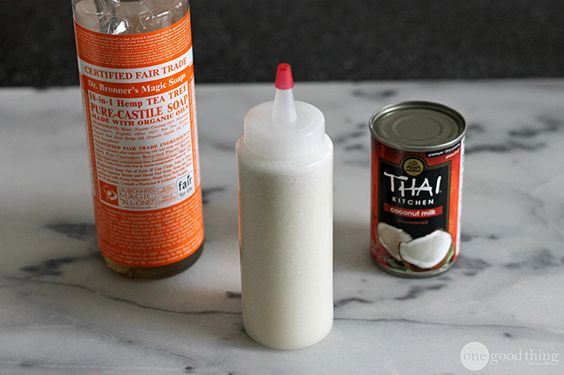 Coconut Milk Shampoo 1/4 cup coconut milk  1/3 cup liquid castile soap (like Dr. Bronner's) 1 tsp vitamin E, olive or almond oil 10 to 20 drops your choice of essential oils
