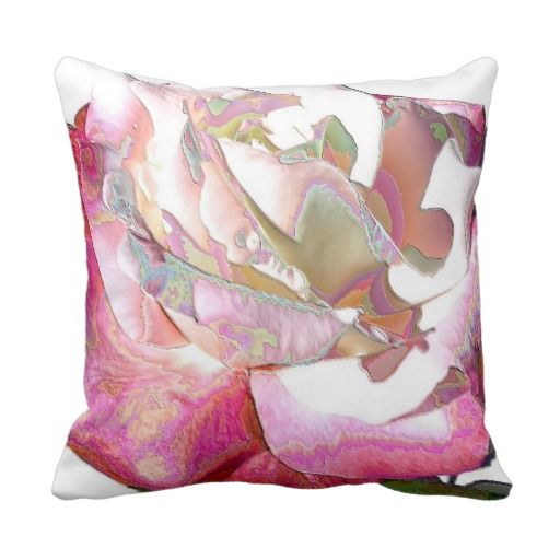 Red Rose Decorative Pillow : Red and White Rose Throw Pillow #zazzle #throwpillow #roses #homedecor #gardenpillows ...