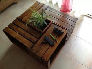 table basse bois caisses