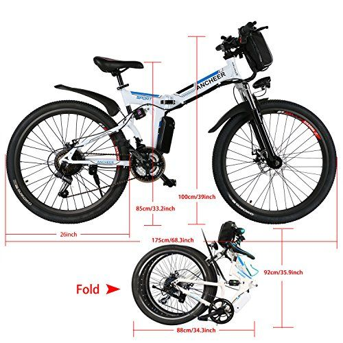 Ancheer Folding Electric Mountain Bike With 26 Inch Wheel Large