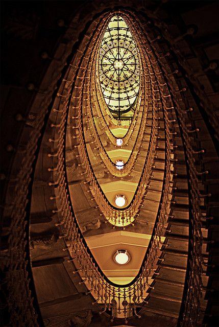 Staircase at the Bristol Palace Hotel, Genova, Italy: