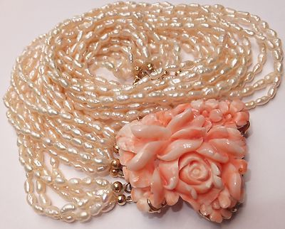 Estate 14k gold carved Pacific pink angel skin coral pearl necklace