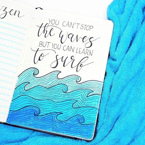 Bullet journal sur le thème de la mer