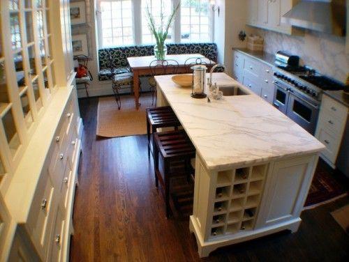 Long Narrow Kitchen Idea Bench Seating Marble Island