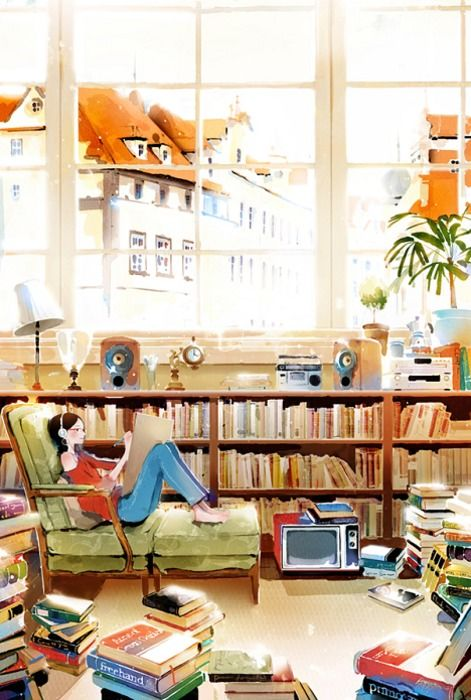 """Sunday: books, music, writing … leisure times"" - illustration by Kim Ji-Hyuck:"