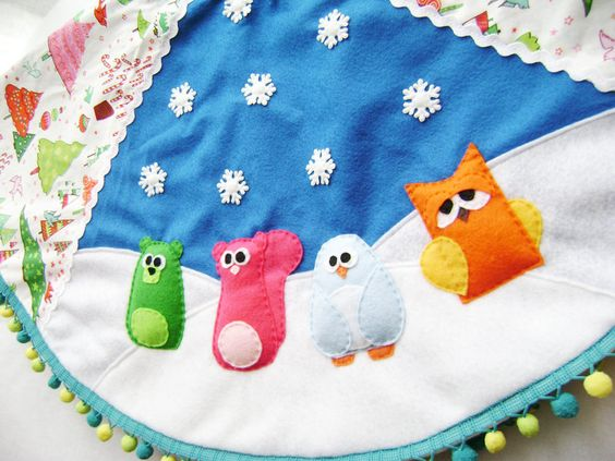 Holiday Tree Skirt  Crazy Christmas  Bright by RedMarionette, $95.00