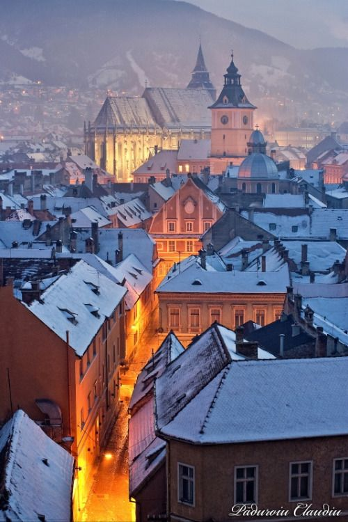 Winter Nights In Brasov Romania Places To Travel Beautiful Places Places Around The World