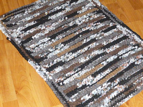 Crochet Rag Rug 32X22 BlacksGreysBrowns and by WingoCreekOriginals, $30.00
