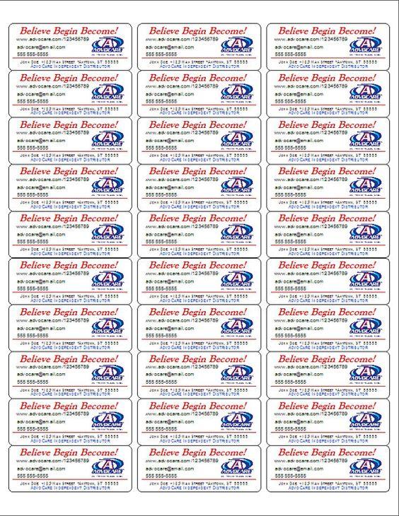 AdvoCare ProductBrochureSample Labels 150 Labels on Etsy – Sample Product Labels