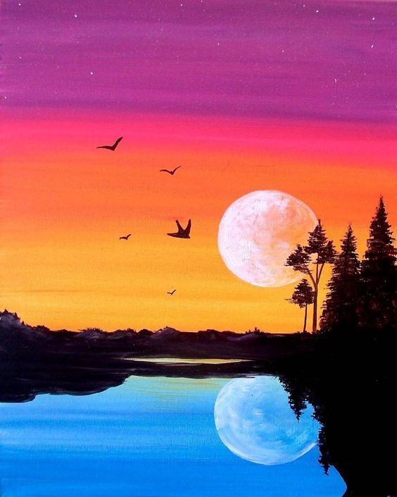 Night And Day Painting Silhouette Art Sunset Painting Silhouette Painting