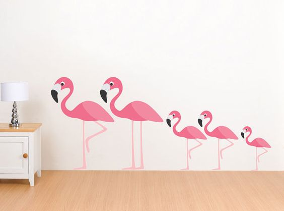 Flamingo Family Wall Decals Reusable Stickers