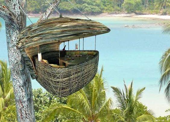 Tree pod dining - Soneva Kiri by Six Senses resort in Thailand (source: http://www.trendhunter.com/trends/tree-pod-dining)