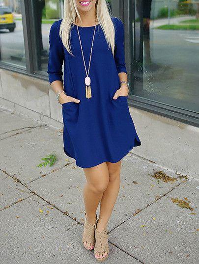 blue dresses, pocket dresses, shift dress, trendy dress, half sleeve dress - Lyfie