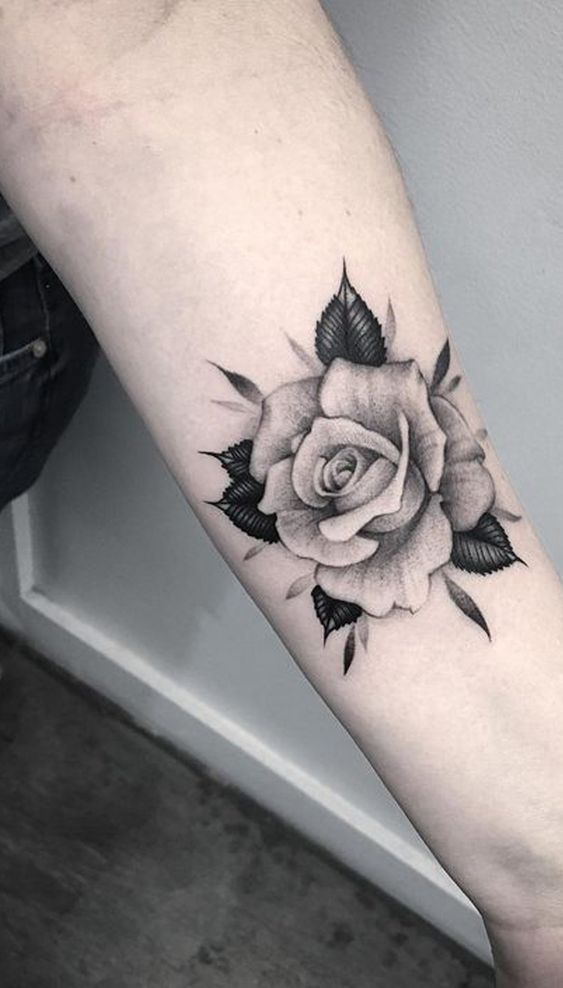 Vintage Rose Forearm Tattoo Ideas For Women Realistic Black And