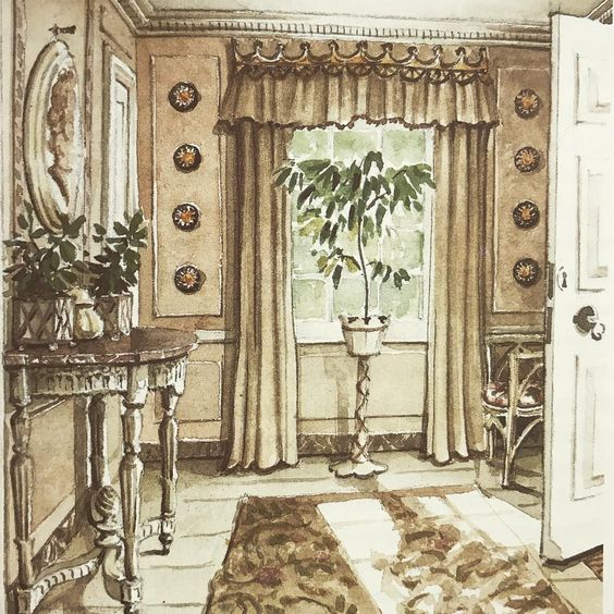"#tbt Mark's watercolor of the entrance hall of John Fowler's ""Hunting Lodge"" in Odiham near Windsor is an illustration from Mark's book, ""Legendary Decorators of the 20th Century"" that was edited by Jacqueline Onassis and published by Doubleday in 1992. Fowler found the house in the 1940s and added this entrance and a kitchen to what was essentially a ""hunting box"" in the Royal Forest. Today the house is owned by another stellar decorator, Nicky Haslam. #markhampton #legendarydecoratorsofthe2..."