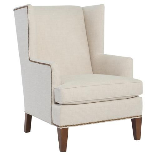 Cr Laine Eliot Modern Classic White Nailhead Trim Wing Back Accent