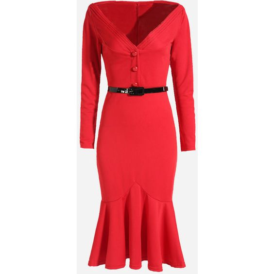 Mermaid V Neck Dacron Plain Bodycon Dress (£24) ❤ liked on Polyvore featuring dresses, red v neck dress, red bodycon dress, v neckline dress, bodycon formal dresses and red formal dresses