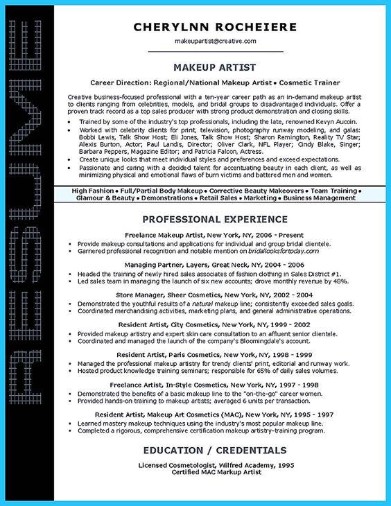 Makeup Artist Instructor Resume Sample Resume Examples - resume for makeup artist