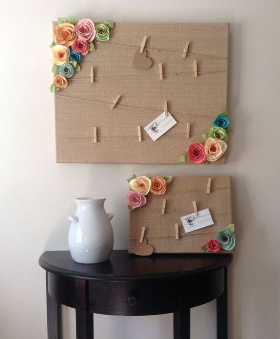 This adorable shabby chic style message board is covered in burlap and has twine with mini clothespins attached to hold you photos and messages! The: