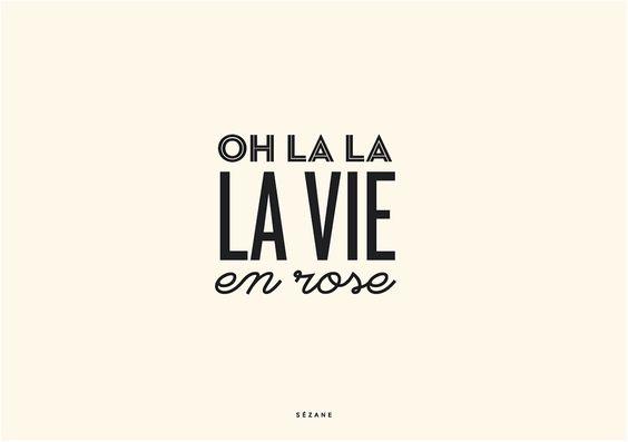 OH la la la vie en rose Sezane Typography Card #sezane #journalsezane