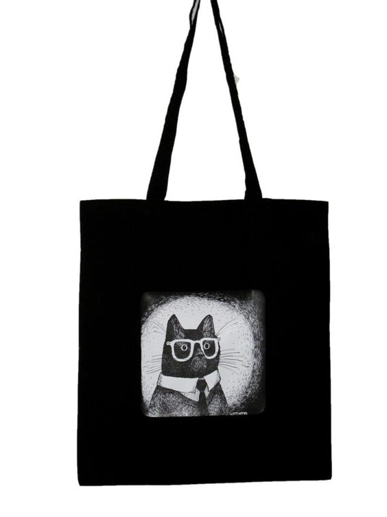 Cat in glasses canvas tote black cotton long handles by zyzanna, £10.00