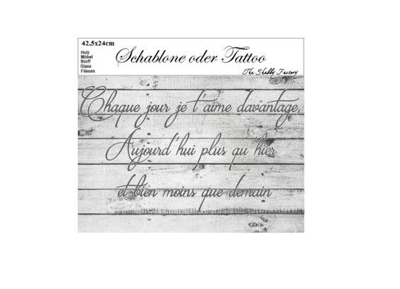 Möbeltattoos - Schablone Französisches Liebesgedicht - ein Designerstück von TheShabbyFactory bei DaWanda