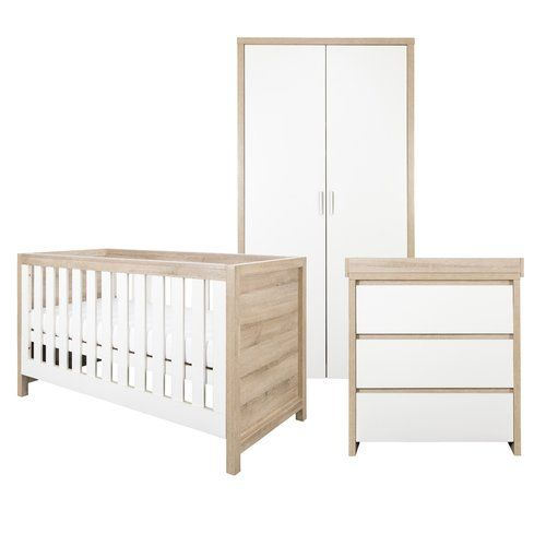 The Tutti Bambini Modena Oak 3 Piece Nursery Room Furniture Set Includes A In 1 Cot Bed Suitable From Birth To Roximatally 6 Years Two