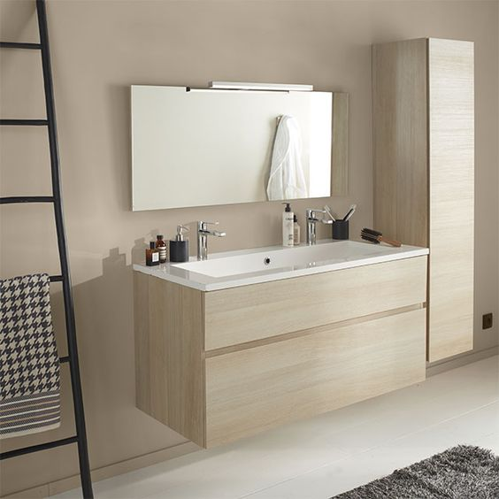 meuble de salle de bains d cor ch ne naturel 120 cm calao. Black Bedroom Furniture Sets. Home Design Ideas
