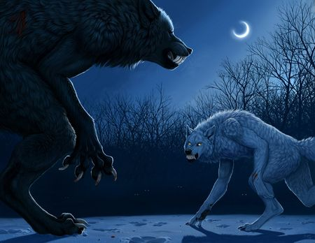 A werewolf and a lykos (an artificially created werewolf ...