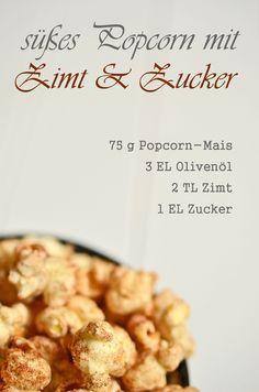 Süßes Popcorn mit Zimt und Zucker (www.rheintopf.com) #rezept #popcorn